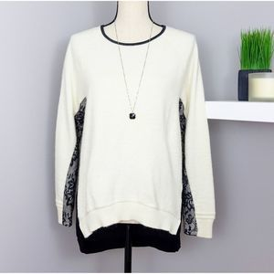 Zara Cream Wool and Black Lace Sweater Sz M
